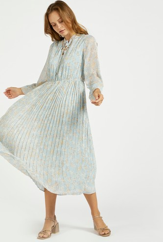 All-Over Floral Print Pleated Midi A-line Dress with Tie-Ups
