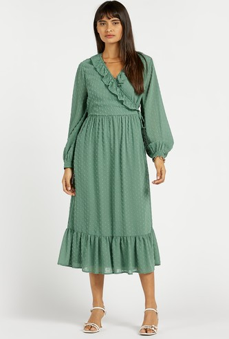 Textured Midi Tiered Wrap Dress with Bishop Sleeves and Frill Detail