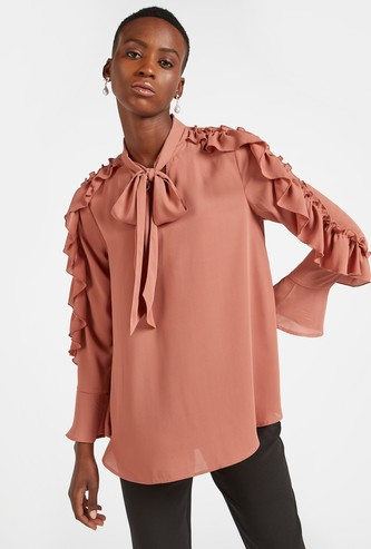 Solid Top with Pussy Bow and Ruffle Detail