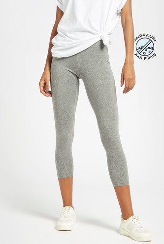 Solid Mid-Rise 3/4 Leggings with Elasticised Waistband