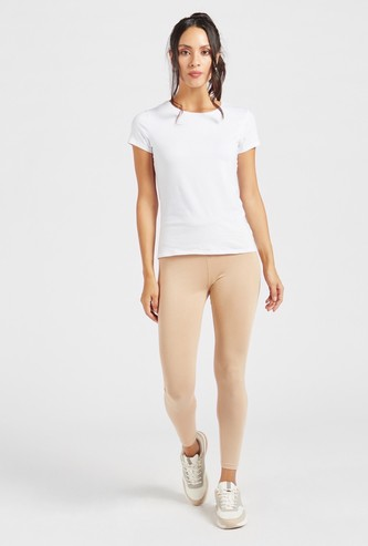 Solid Mid-Rise Ankle-Length Leggings with Elasticated Waistband
