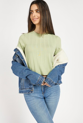 Textured Crop T-shirt with Round Neck and Short Sleeves