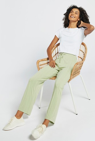 Textured Wide Leg Pants with Drawstring Closure