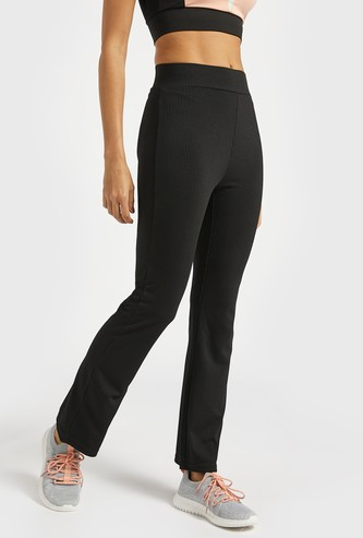 Textured Flared Pants with Elasticised Waistband