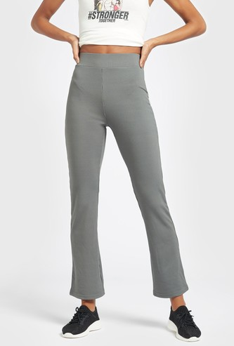 Ribbed Slim Fit Flared Pants with Elasticised Waistband
