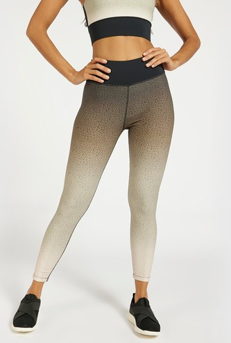 All-Over Animal Print Ombre Leggings with Elasticated Waistband