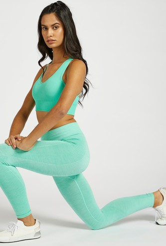 Slim Fit Solid Seamless Leggings with Elasticised Waistband