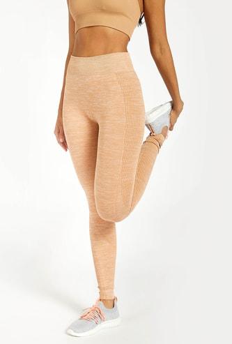 Textured Full Length Seamless Leggings with Elasticated Waistband