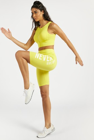 Text Printed Slim Fit Cycling Shorts with Elasticised Waistband