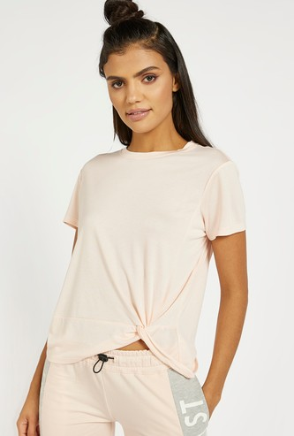 Solid T-shirt with Crew Neck and Knot Detail