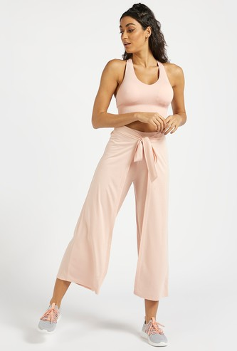 Solid Mid-Rise Pants with Tie-Ups and Overlay Detail