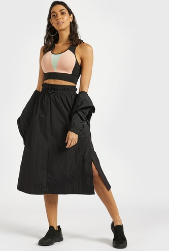 Solid Midi A-line Skirt with Elasticated Waistband and Slit Detail