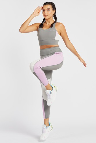 Colour-Blocked Mid-Rise Leggings with Elasticated Waistband
