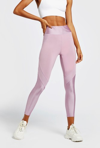 Solid Biker Leggings with Mesh Detail and Elasticised Waistband