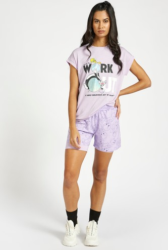 Tweety Print Double Layer Shorts with Elasticised Waistband