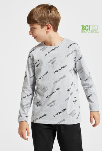 All-Over Typographic Print T-shirt with Round Neck and Long Sleeves