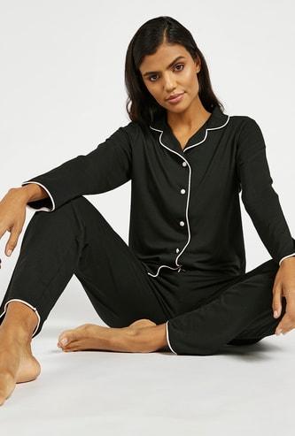 Solid Shirt and Full Length Pyjama Set