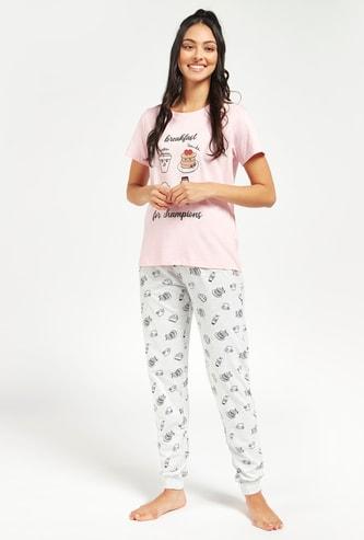 Graphic Print T-shirt and All-Over Printed Pyjama Set