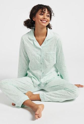 Set of 2 - All-Over Star Print Sleepshirt and Pyjamas