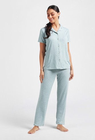 Solid Short Sleeves Shirt and Full Length Pyjama Set