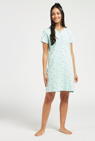 All-Over Printed Sleepshirt with V-Neck and Short Sleeves