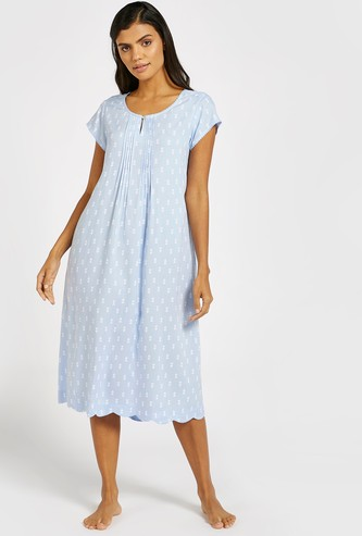 Printed 3/4 Sleep Gown with Pleated Front