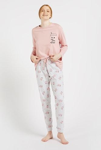 Graphic Print T-shirt and All-Over Printed Pyjamas Set