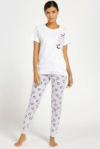 Graphic Print T-shirt and Full Length Jog Pants Set