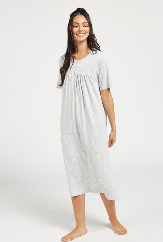 Printed Sleep Gown with Short Sleeves and Smocking Detail