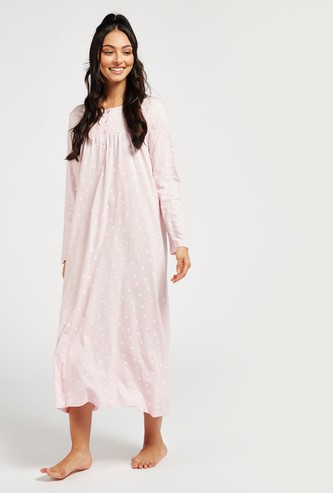 All-Over Print Sleep Gown with Round Neck and Smocking Detail