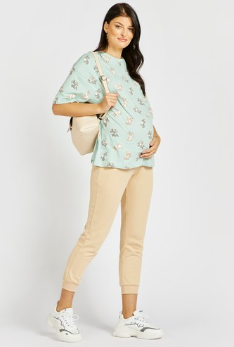 Solid Mid-Rise Maternity Jog Pants with Pockets and Drawstring Closure