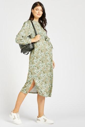 فستان ميدي إيه لاين بطبعات أزهار وأكمام طويلة وفتحة جانبية