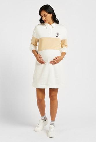 Minnie Mouse Themed Maternity Sweatshirt Dress