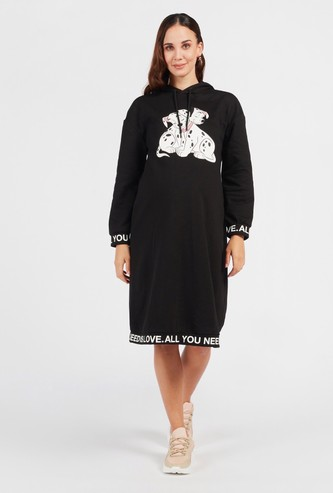 101 Dalmatians Print Maternity Sweatshirt Dress with Hood