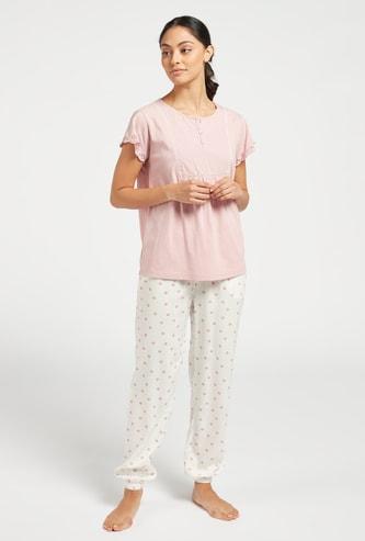 Solid T-shirt and Printed Jog Pants Set