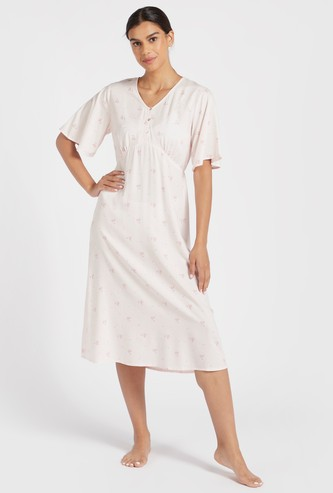 All-Over Printed Sleep Dress with Short Sleeves