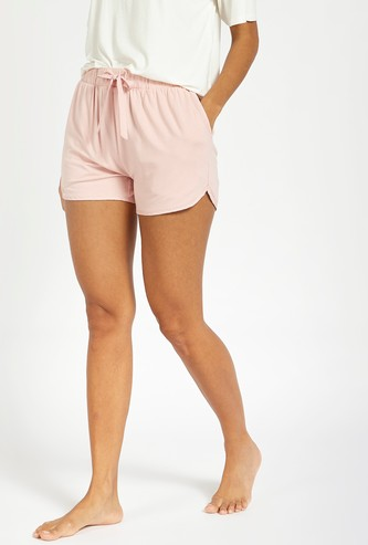 Solid Shorts with Elasticated Waistband and Drawstring