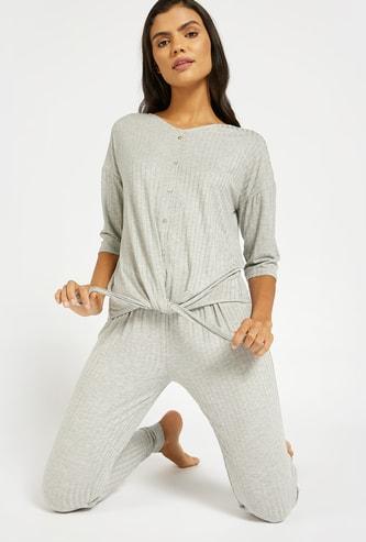 Textured Knot Detailed Shirt and Full Length Pyjama Set