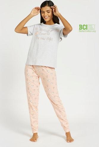 Slogan Print T-shirt and All-Over Print Pyjama Set