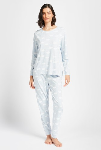 All-Over Printed T-shirt with Long Sleeves and Pyjama Set