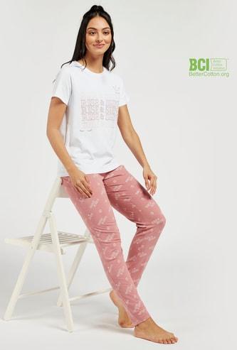 Typographic Print Short Sleeves T-shirt and Full Length Pyjama Set