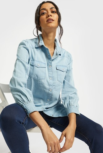 Solid Denim Shirt with Long Sleeves and Chest Pockets