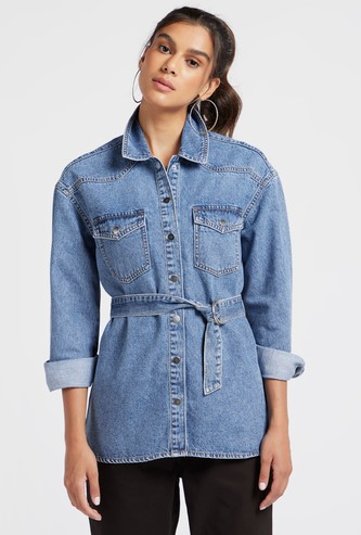 Solid Denim Shacket with Long Sleeves and Tie-Ups