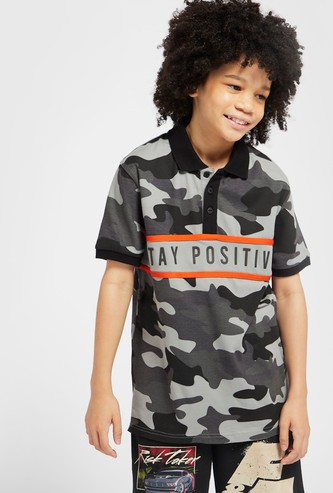All-Over Printed Panelled Polo T-shirt with Short Sleeves