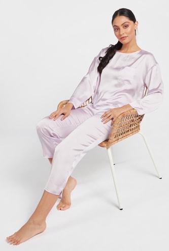 Solid Round Neck Top and 3/4 Pyjama Set