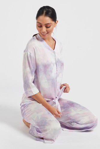 Printed Top with Front Tie-Up and Full Length Pyjama Set