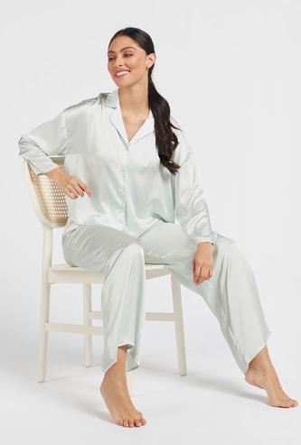 Solid Long Sleeved Shirt and Pyjama Set