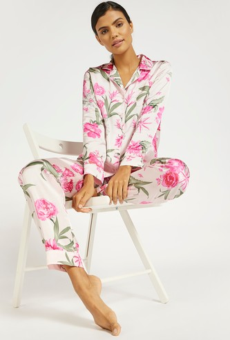 All-Over Floral Print Shirt and Pyjama Set