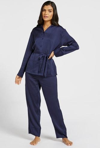 Solid Shirt with Collar and Full-Length Pyjama Set
