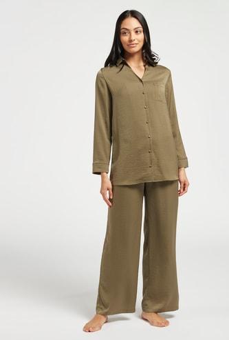 قميص سادة بأكمام طويلة وبنطلون بيجاما- طقم من قطعتين